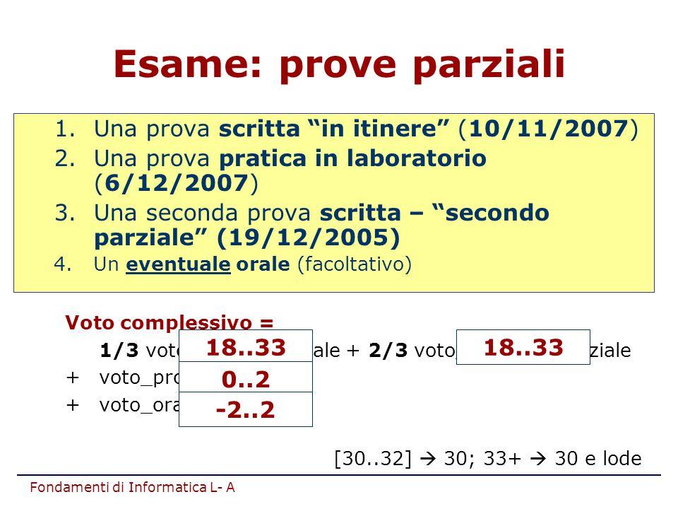Esame: prove parziali Una prova scritta in itinere (10/11/2007)