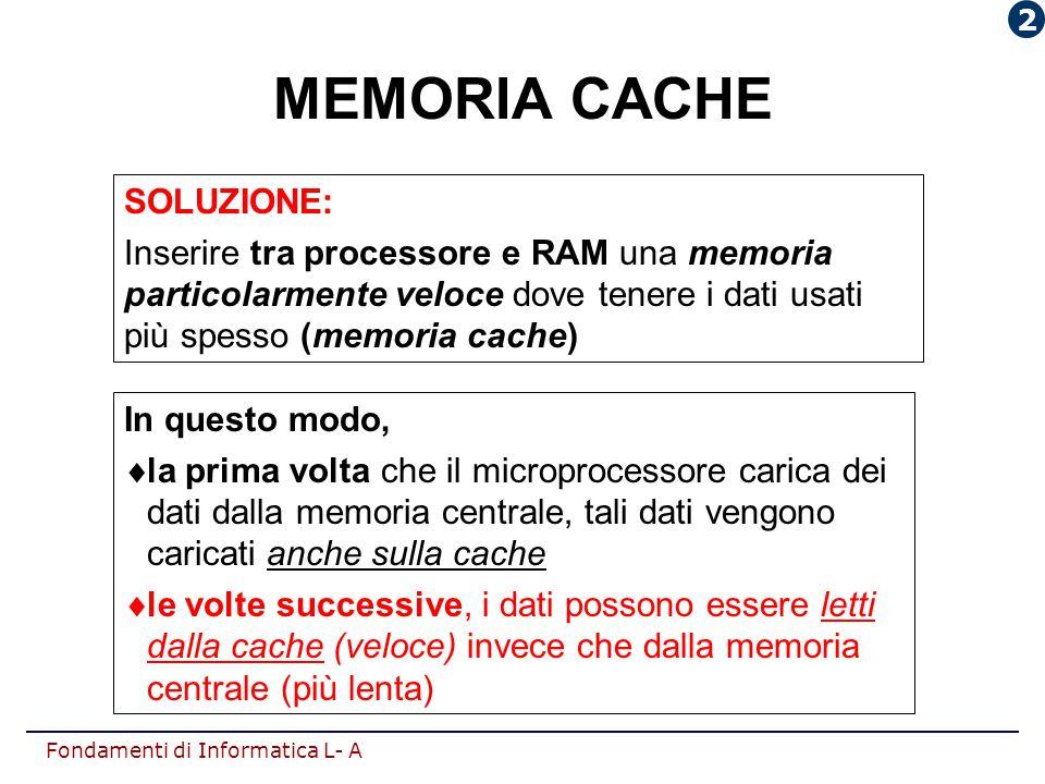 MEMORIA CACHE SOLUZIONE: