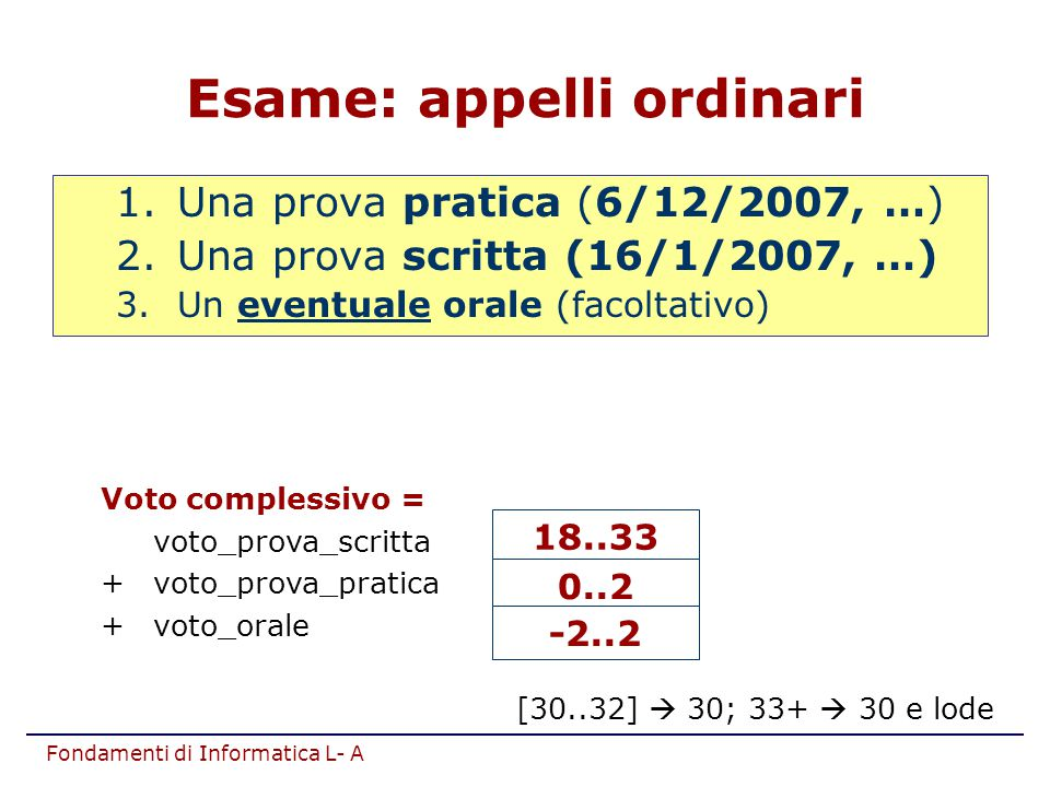 Esame: appelli ordinari