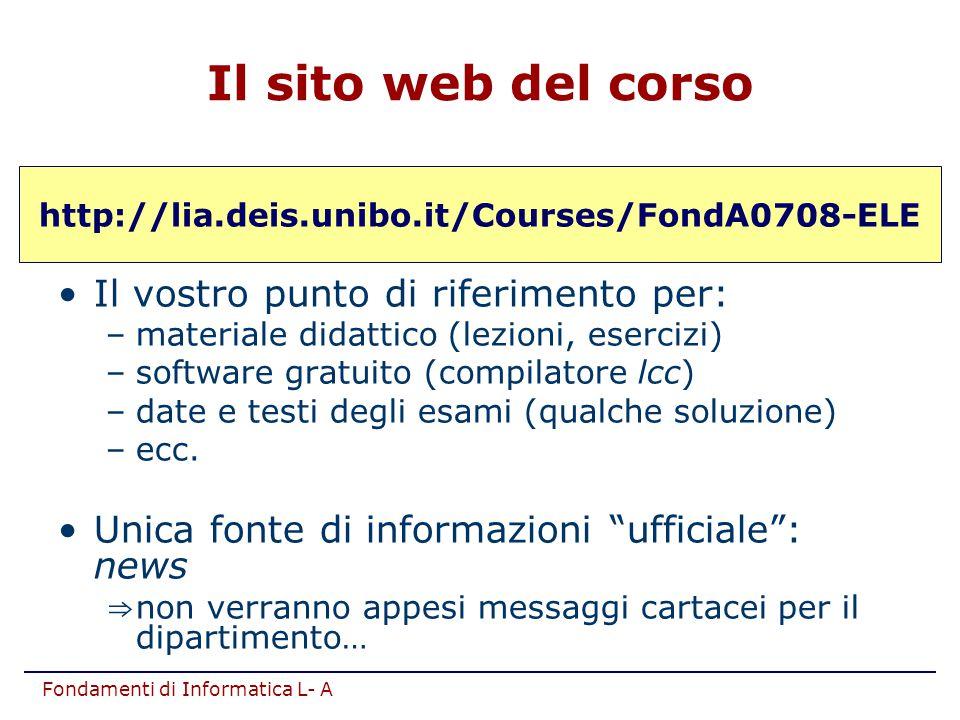 Il sito web del corso Il vostro punto di riferimento per: