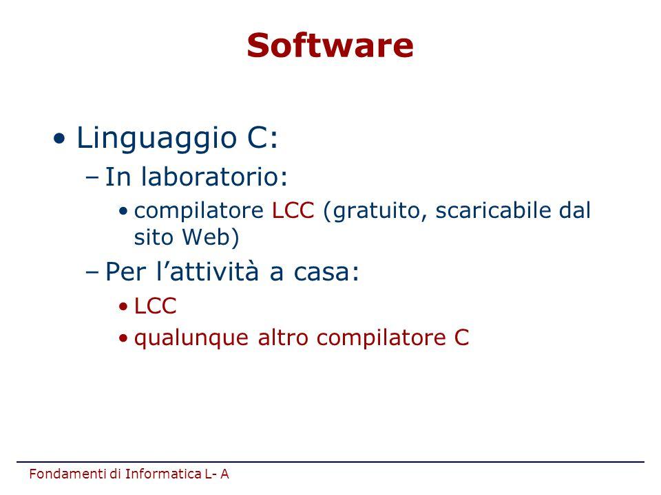 Software Linguaggio C: In laboratorio: Per l'attività a casa: