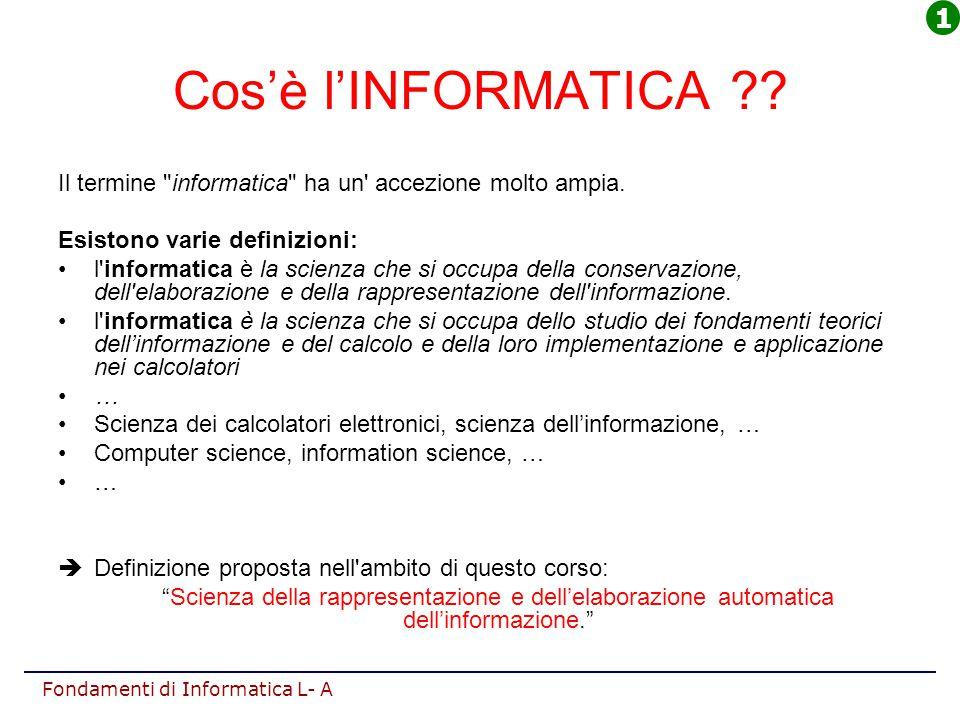 1 Cos'è l'INFORMATICA Il termine informatica ha un accezione molto ampia. Esistono varie definizioni: