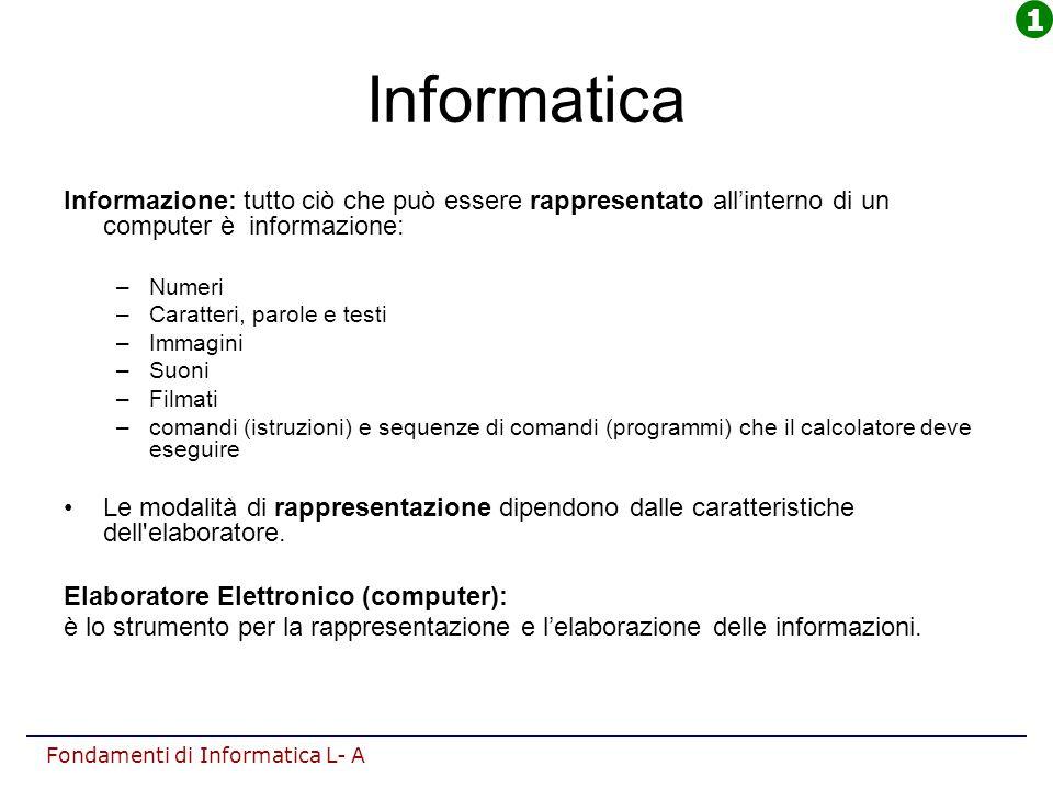 1 Informatica. Informazione: tutto ciò che può essere rappresentato all'interno di un computer è informazione: