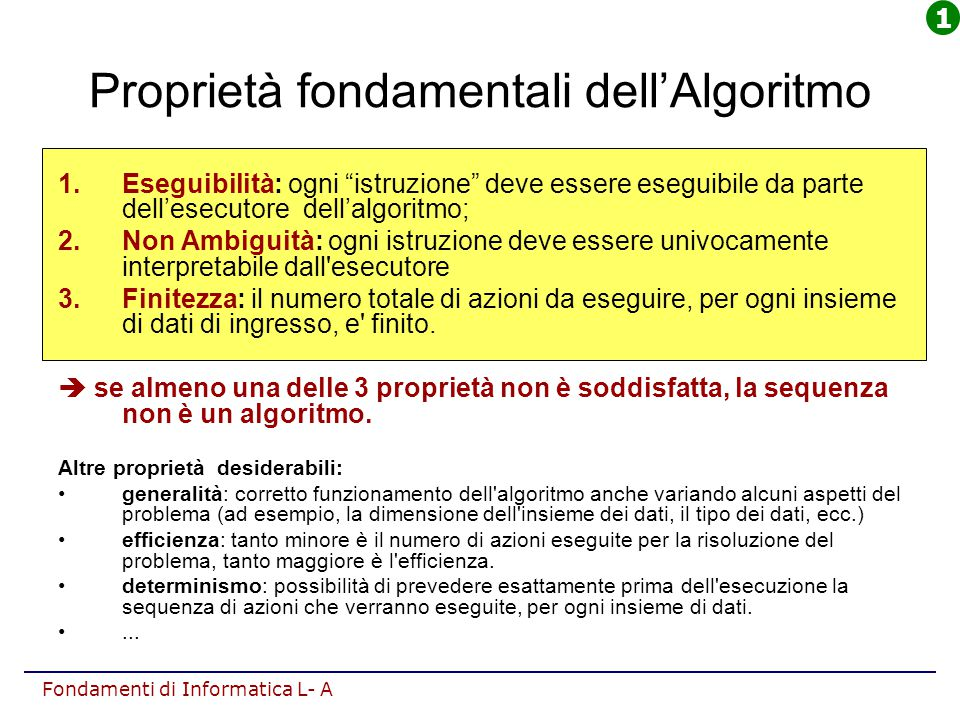 Proprietà fondamentali dell'Algoritmo