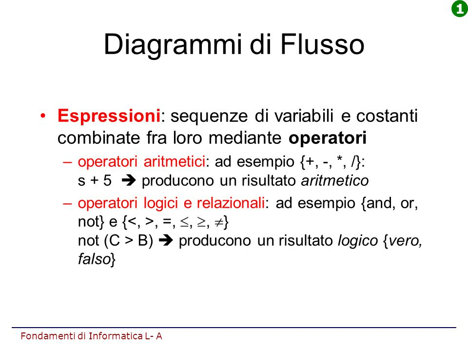 1 Diagrammi di Flusso. Espressioni: sequenze di variabili e costanti combinate fra loro mediante operatori.