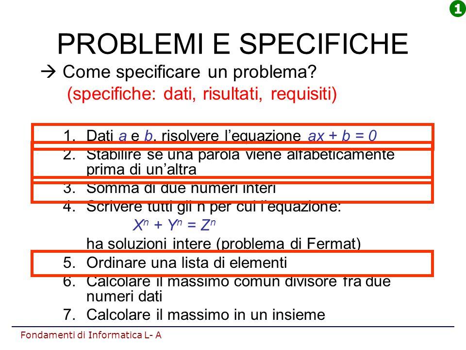 PROBLEMI E SPECIFICHE  Come specificare un problema