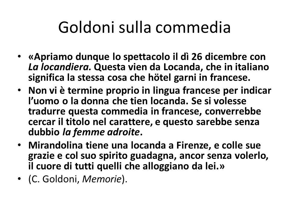 Goldoni sulla commedia