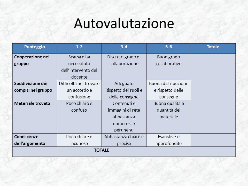 Autovalutazione Punteggio 1-2 3-4 5-6 Totale Cooperazione nel gruppo