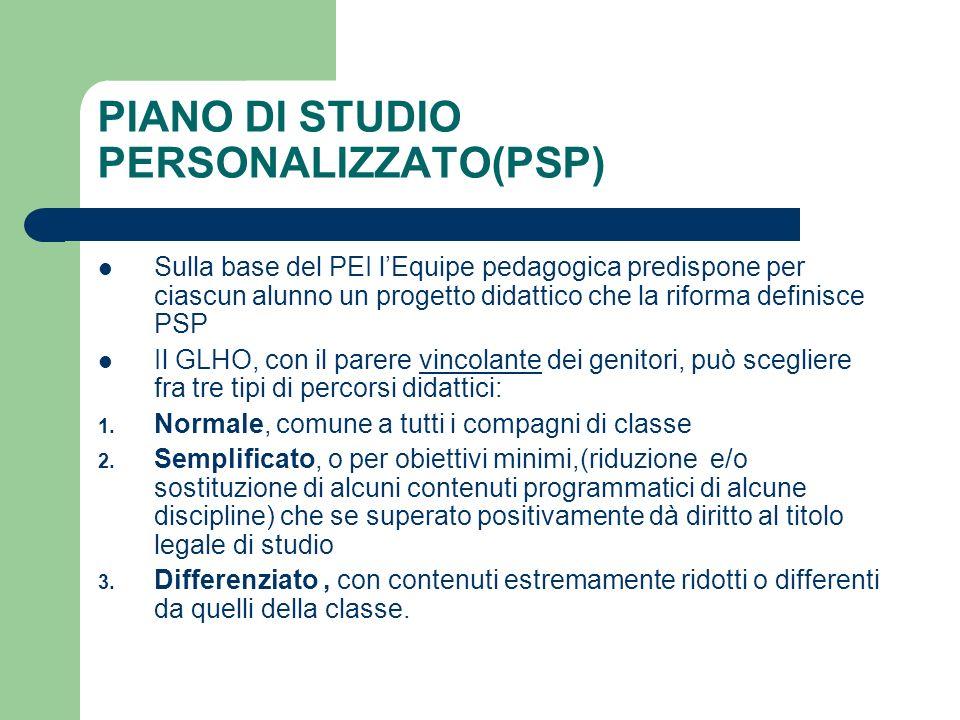 PIANO DI STUDIO PERSONALIZZATO(PSP)