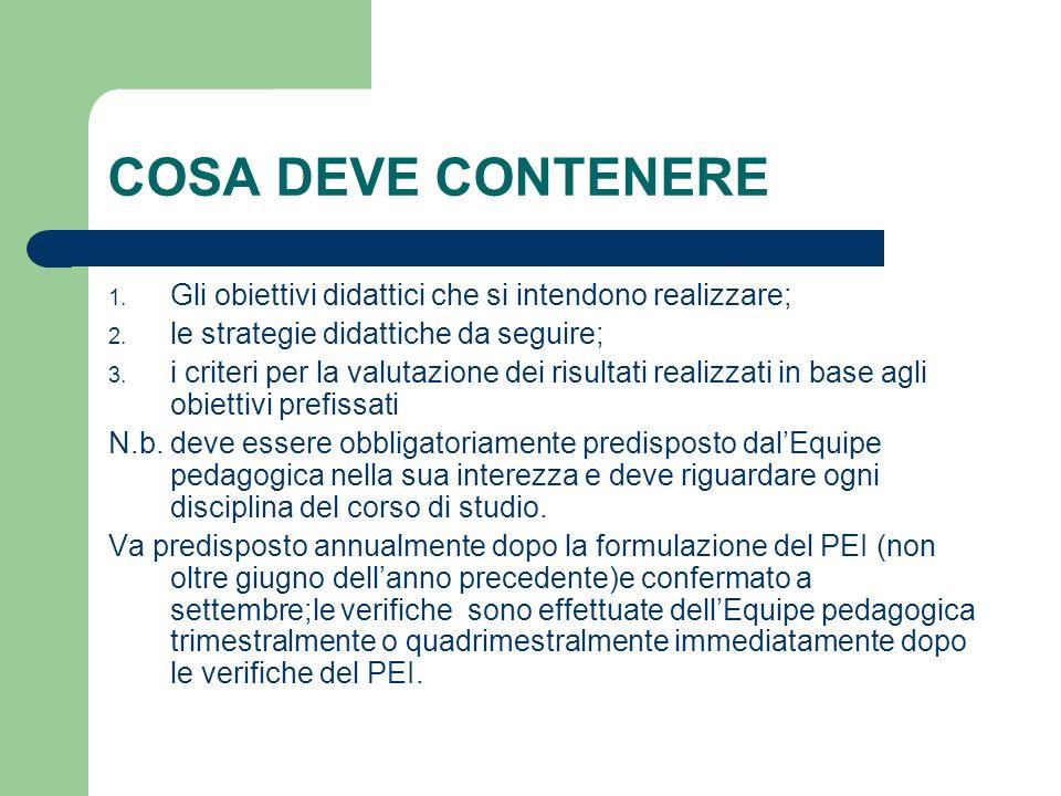 COSA DEVE CONTENERE Gli obiettivi didattici che si intendono realizzare; le strategie didattiche da seguire;