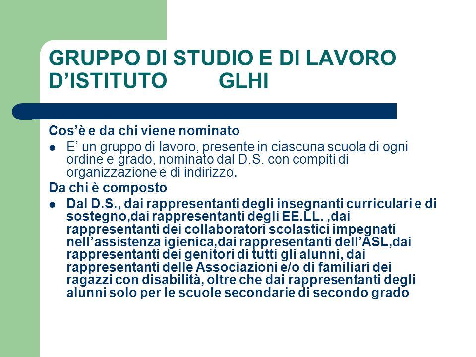 GRUPPO DI STUDIO E DI LAVORO D'ISTITUTO GLHI