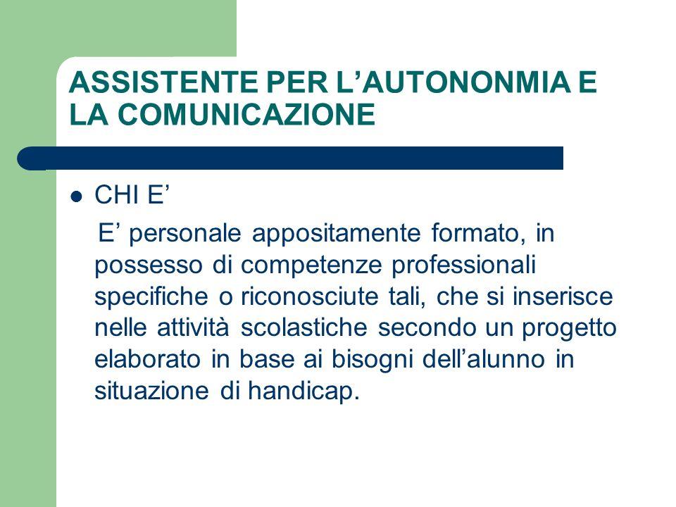 ASSISTENTE PER L'AUTONONMIA E LA COMUNICAZIONE