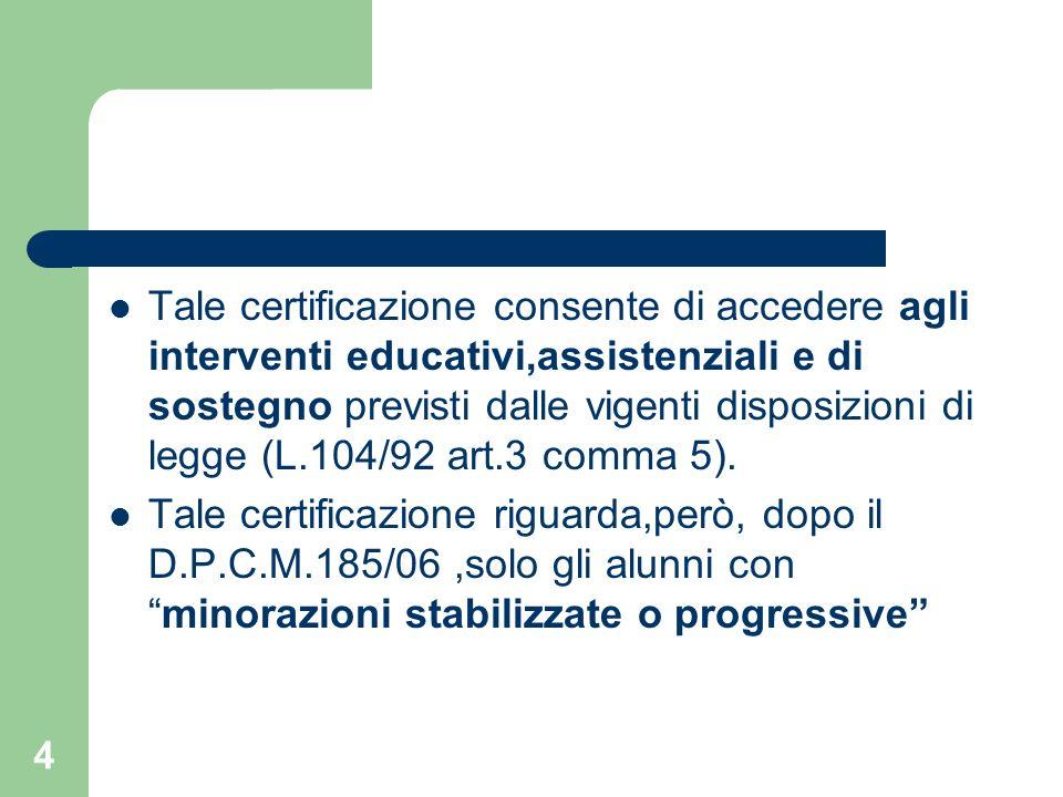 Tale certificazione consente di accedere agli interventi educativi,assistenziali e di sostegno previsti dalle vigenti disposizioni di legge (L.104/92 art.3 comma 5).