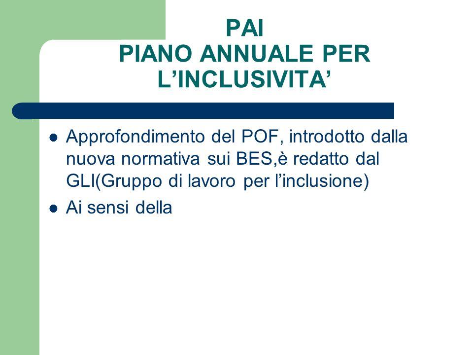 PAI PIANO ANNUALE PER L'INCLUSIVITA'