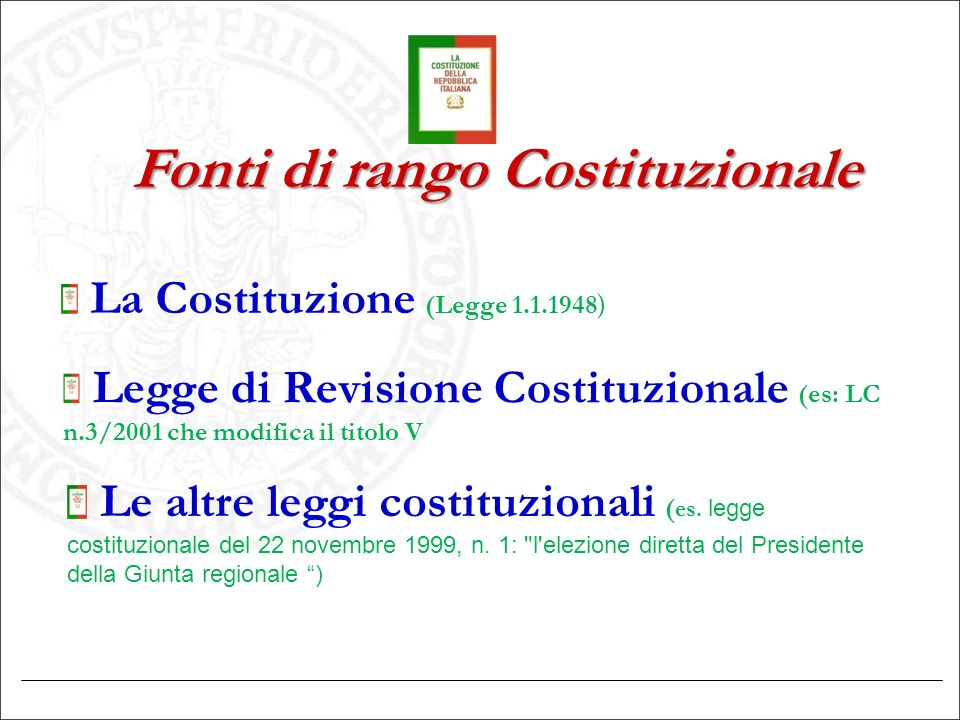 Fonti di rango Costituzionale
