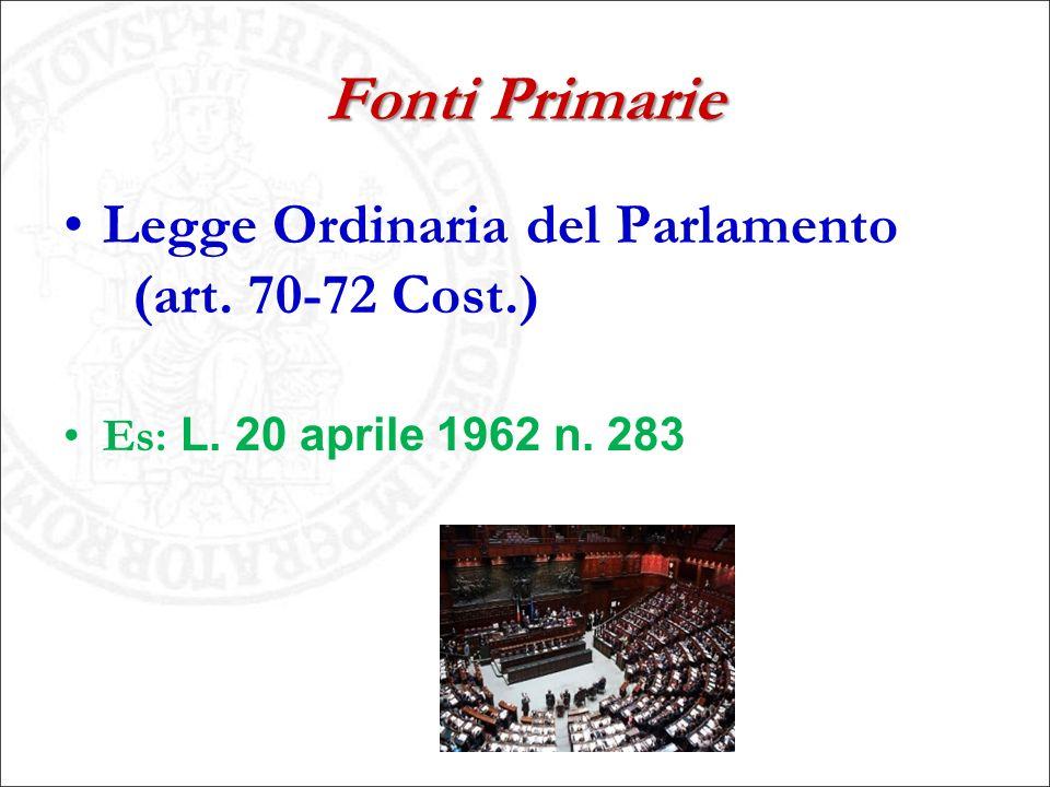 Fonti Primarie Legge Ordinaria del Parlamento (art. 70-72 Cost.)