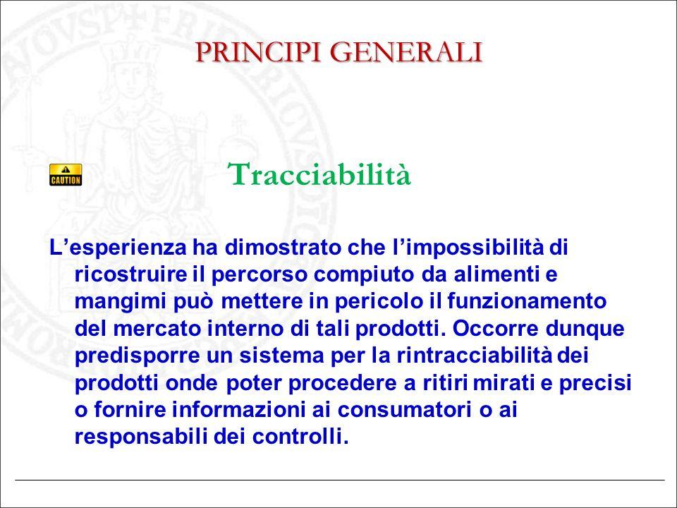 Tracciabilità PRINCIPI GENERALI