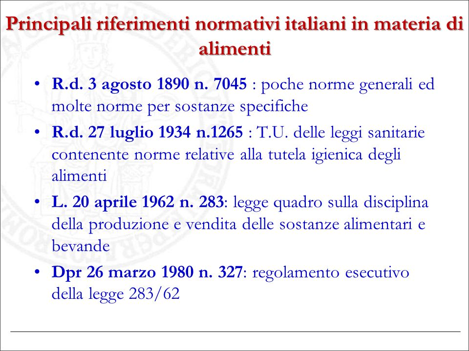 Principali riferimenti normativi italiani in materia di alimenti