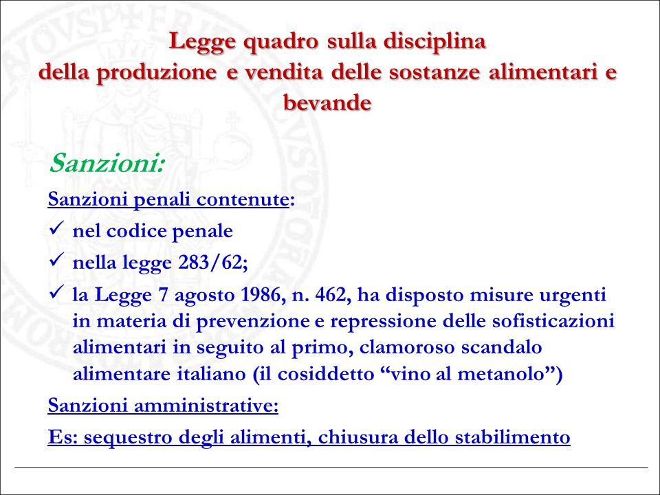 Legge quadro sulla disciplina della produzione e vendita delle sostanze alimentari e bevande