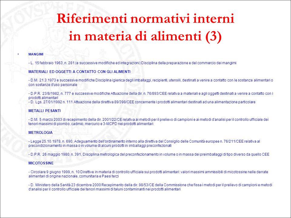 Riferimenti normativi interni in materia di alimenti (3)