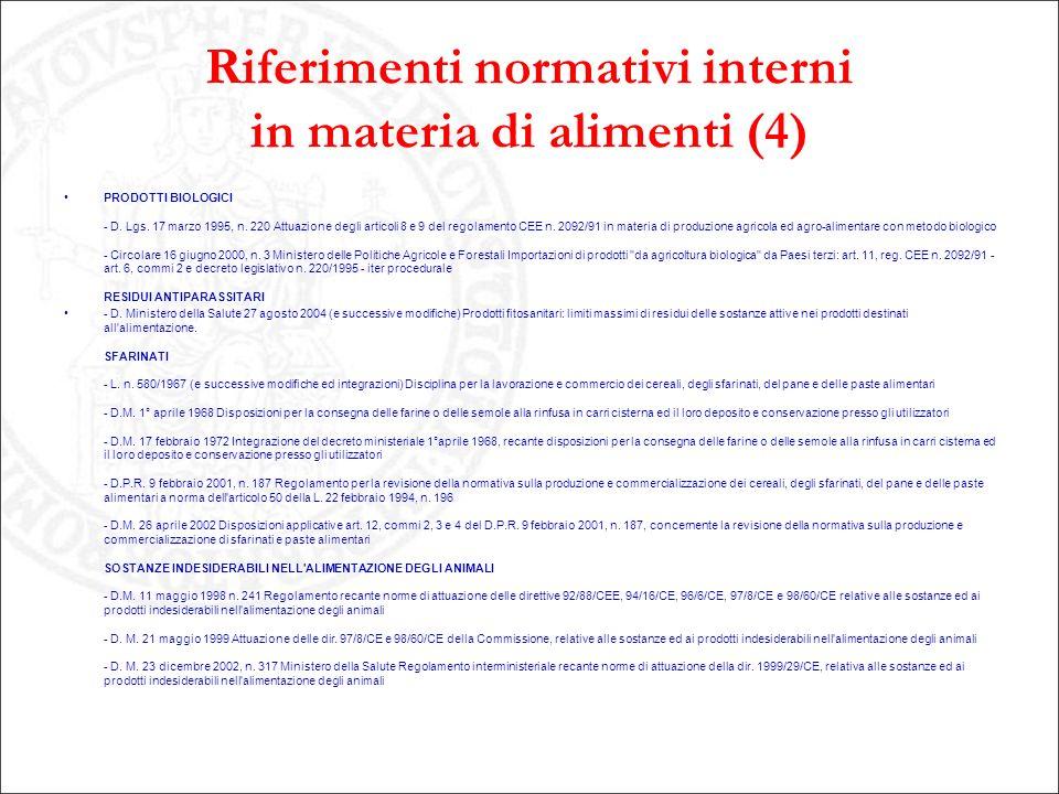 Riferimenti normativi interni in materia di alimenti (4)