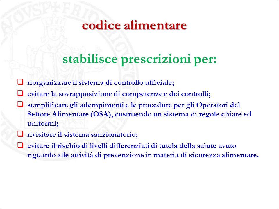 stabilisce prescrizioni per: