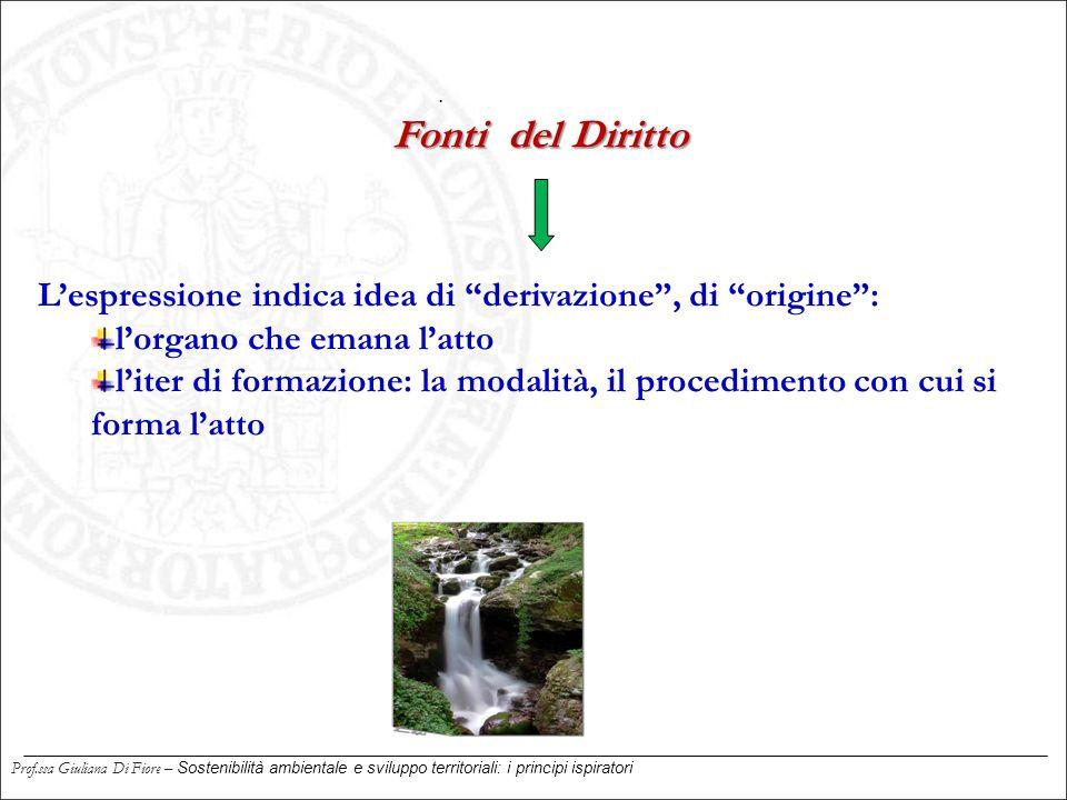 . Fonti del Diritto. L'espressione indica idea di derivazione , di origine : l'organo che emana l'atto.