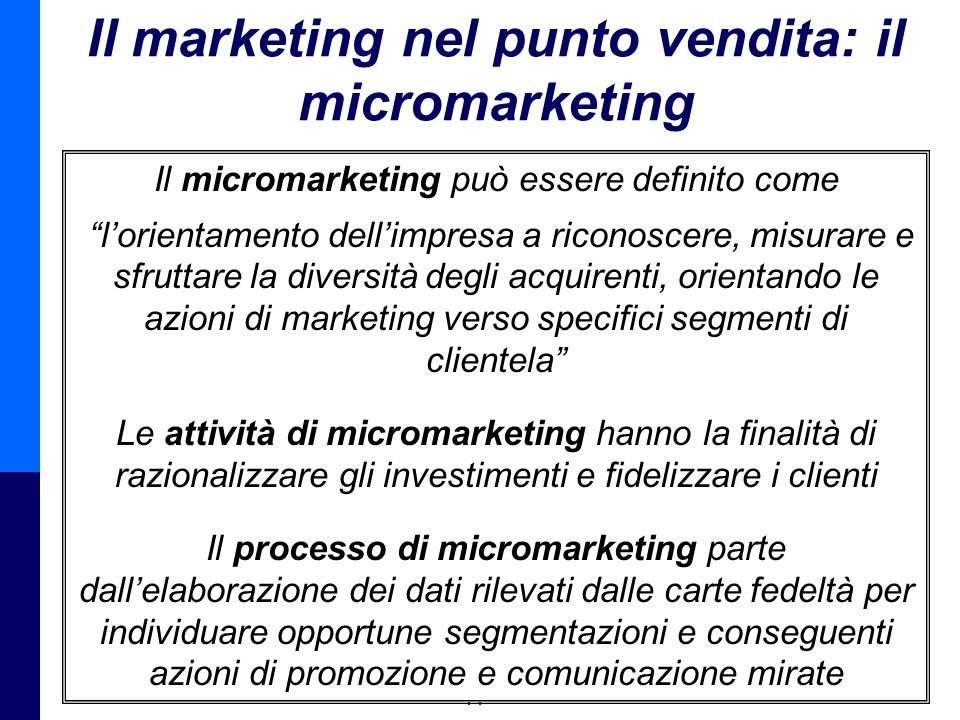 Il marketing nel punto vendita: il micromarketing