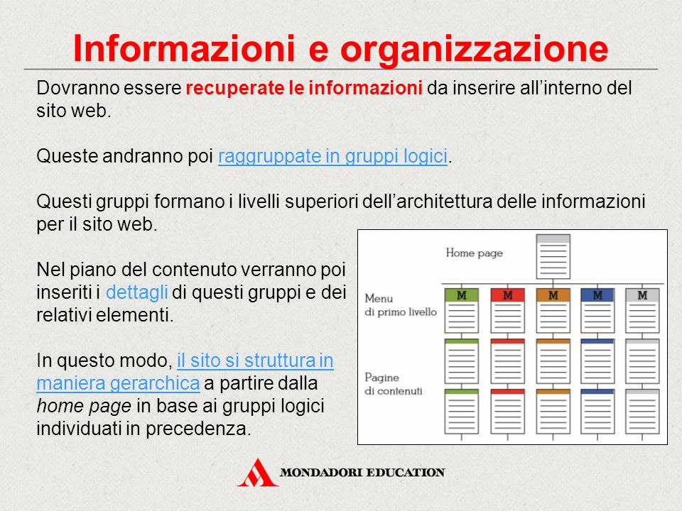 Informazioni e organizzazione