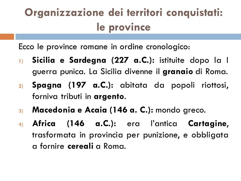 Organizzazione dei territori conquistati: le province