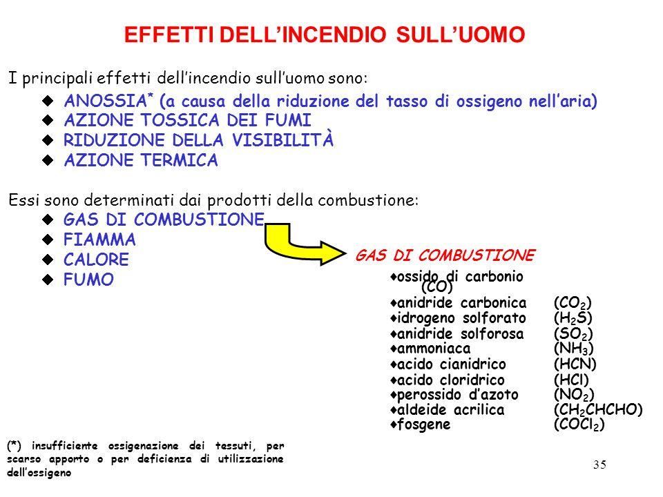 EFFETTI DELL'INCENDIO SULL'UOMO
