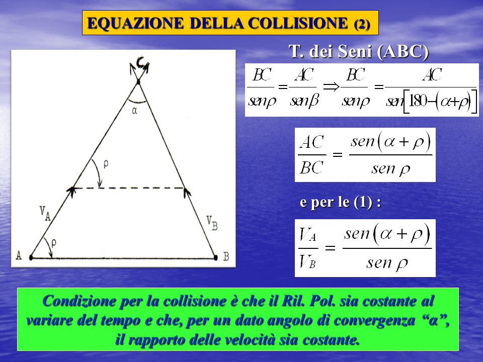 T. dei Seni (ABC) EQUAZIONE DELLA COLLISIONE (2) e per le (1) :