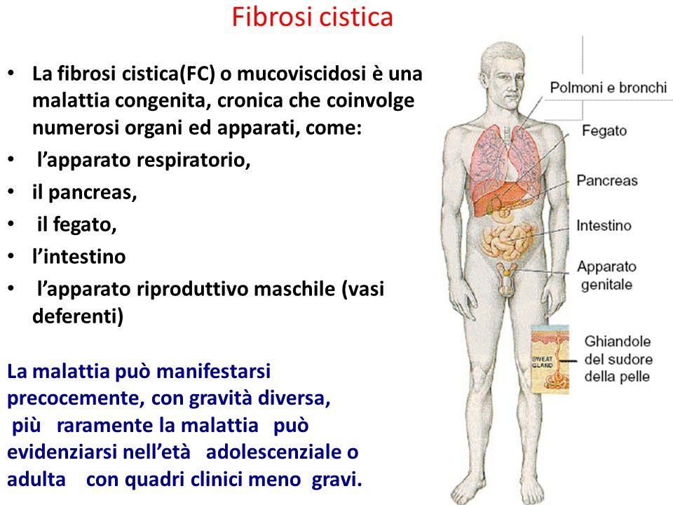 Fibrosi cistica La fibrosi cistica(FC) o mucoviscidosi è una malattia congenita, cronica che coinvolge numerosi organi ed apparati, come: