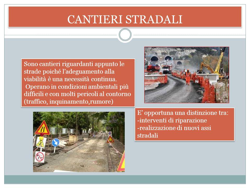 CANTIERI STRADALI Sono cantieri riguardanti appunto le strade poiché l'adeguamento alla viabilità è una necessità continua.