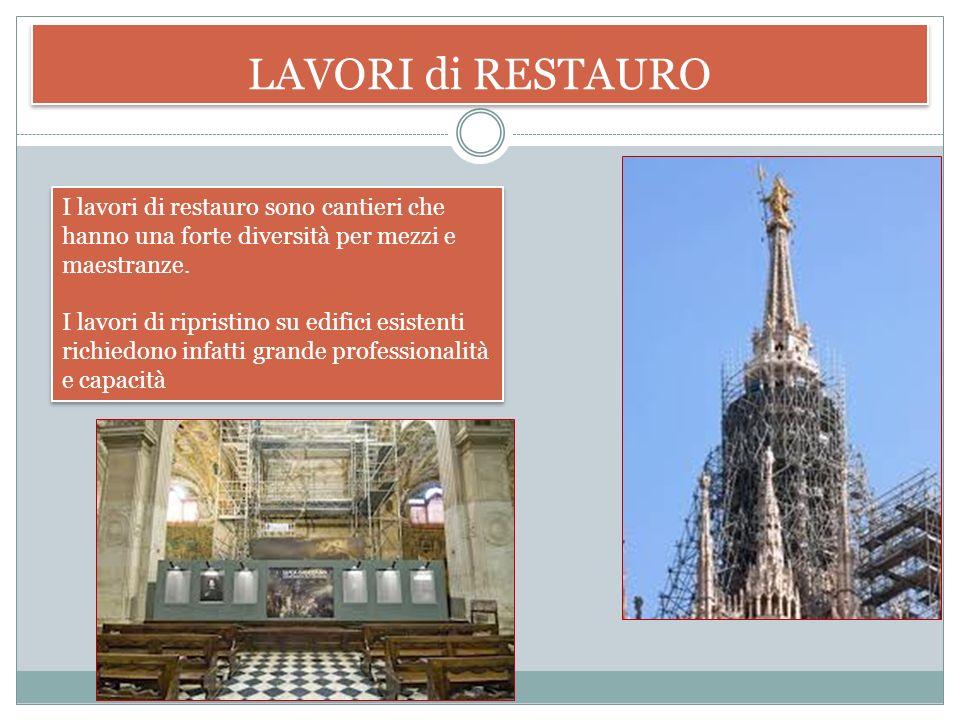 LAVORI di RESTAURO I lavori di restauro sono cantieri che hanno una forte diversità per mezzi e maestranze.