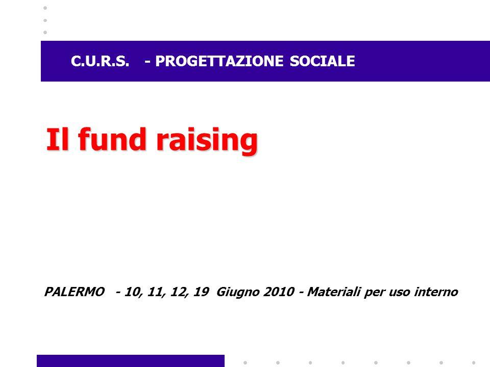 Il fund raising C.U.R.S. - PROGETTAZIONE SOCIALE