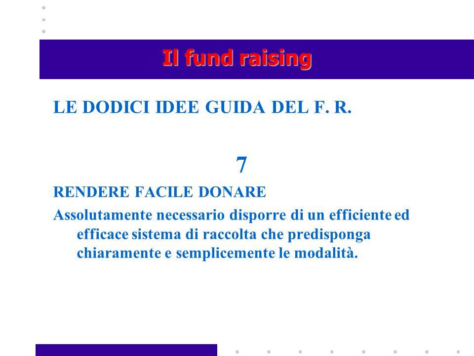 7 Il fund raising LE DODICI IDEE GUIDA DEL F. R. RENDERE FACILE DONARE