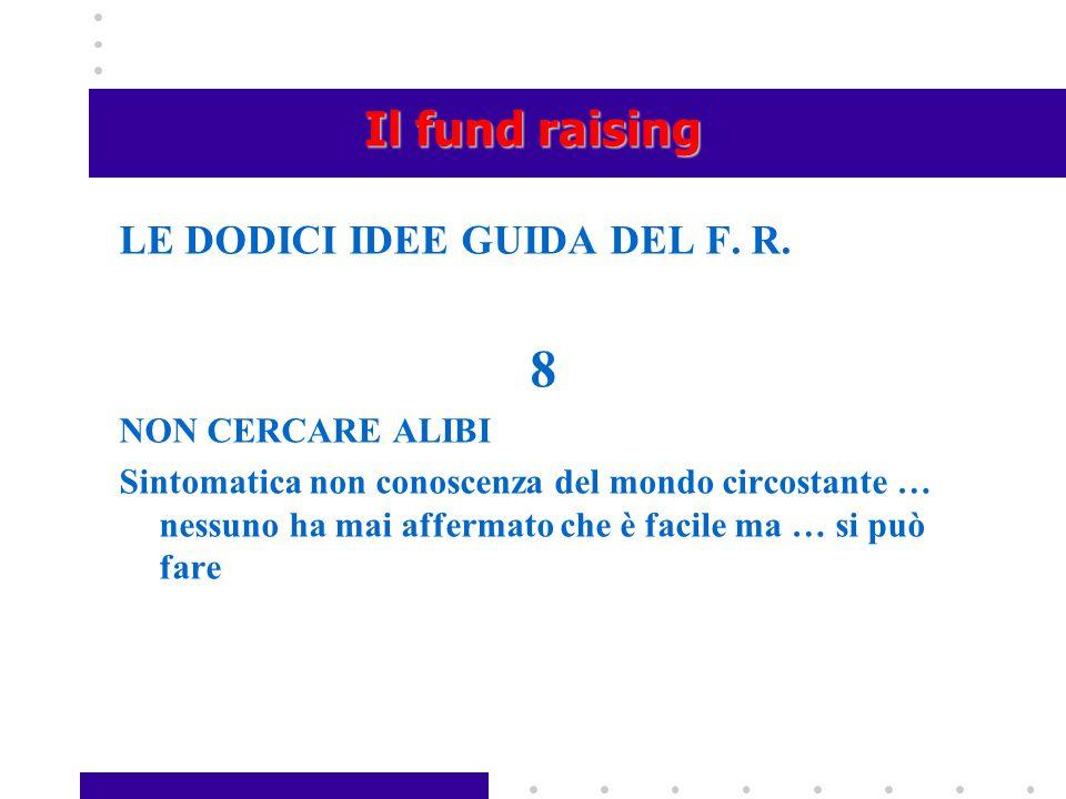 8 Il fund raising LE DODICI IDEE GUIDA DEL F. R. NON CERCARE ALIBI