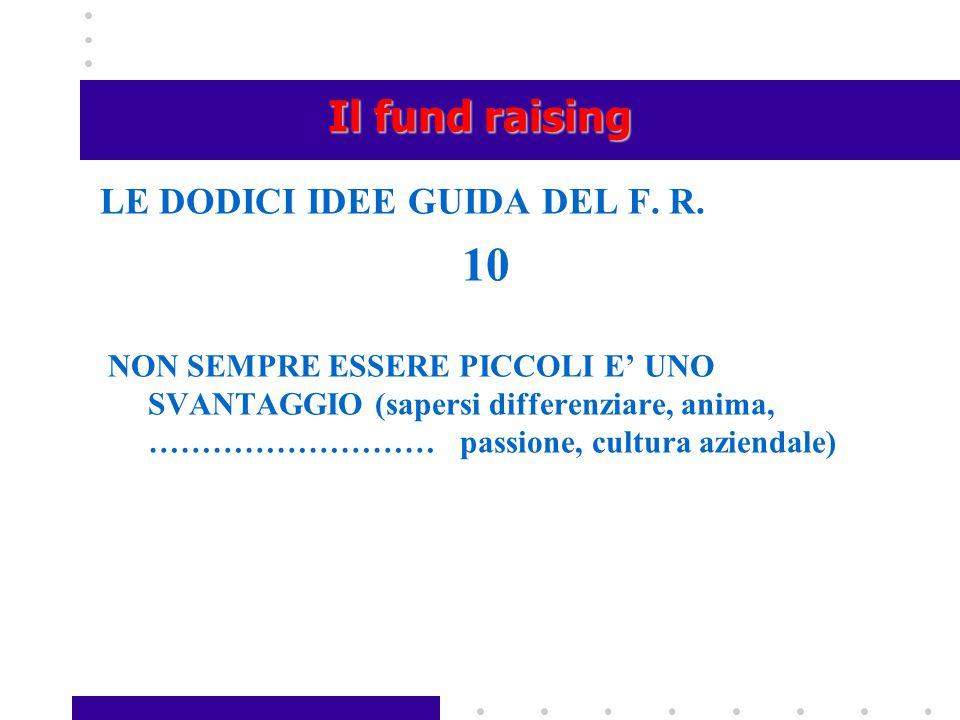 10 Il fund raising LE DODICI IDEE GUIDA DEL F. R.