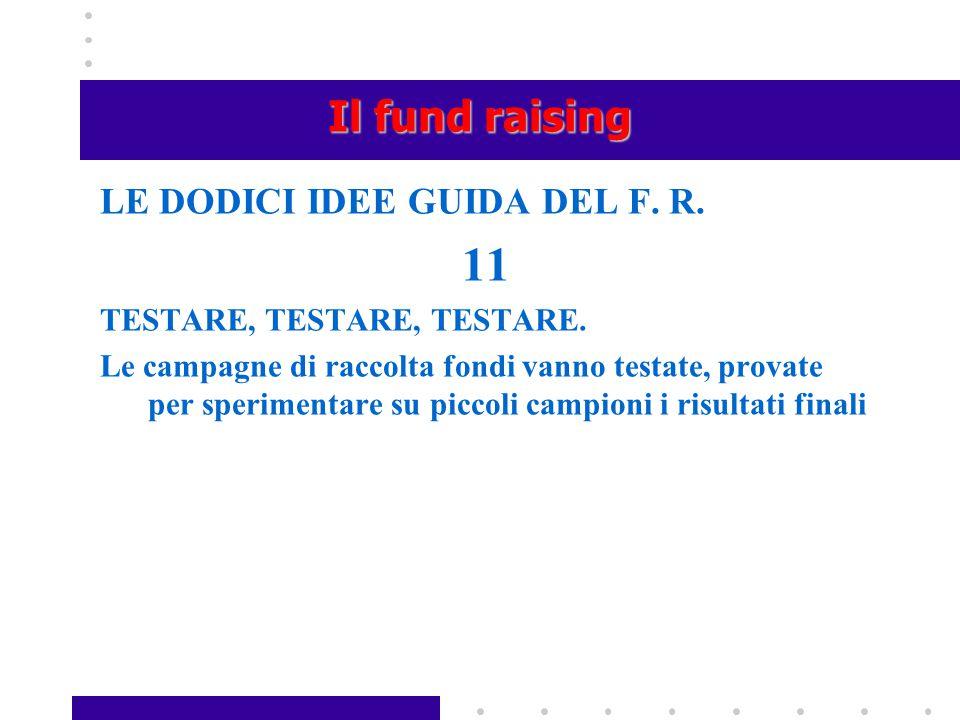 11 Il fund raising LE DODICI IDEE GUIDA DEL F. R.
