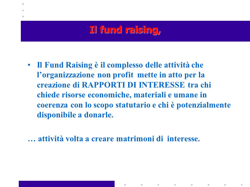 Il fund raising,
