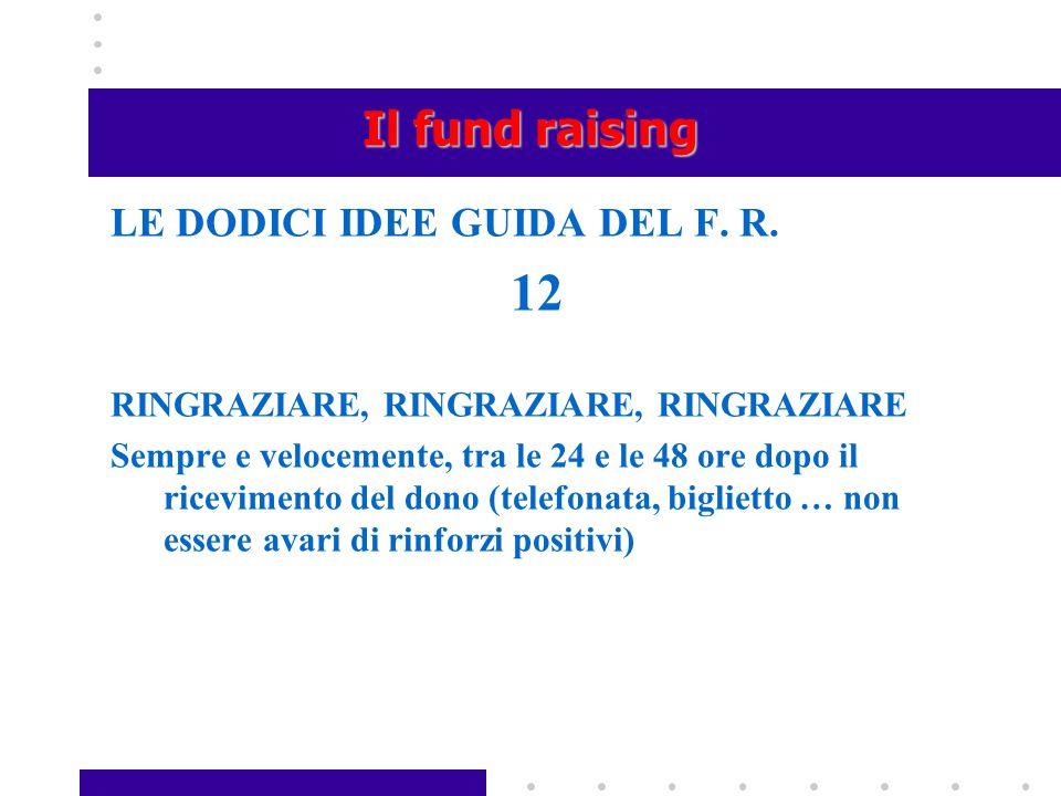 12 Il fund raising LE DODICI IDEE GUIDA DEL F. R.