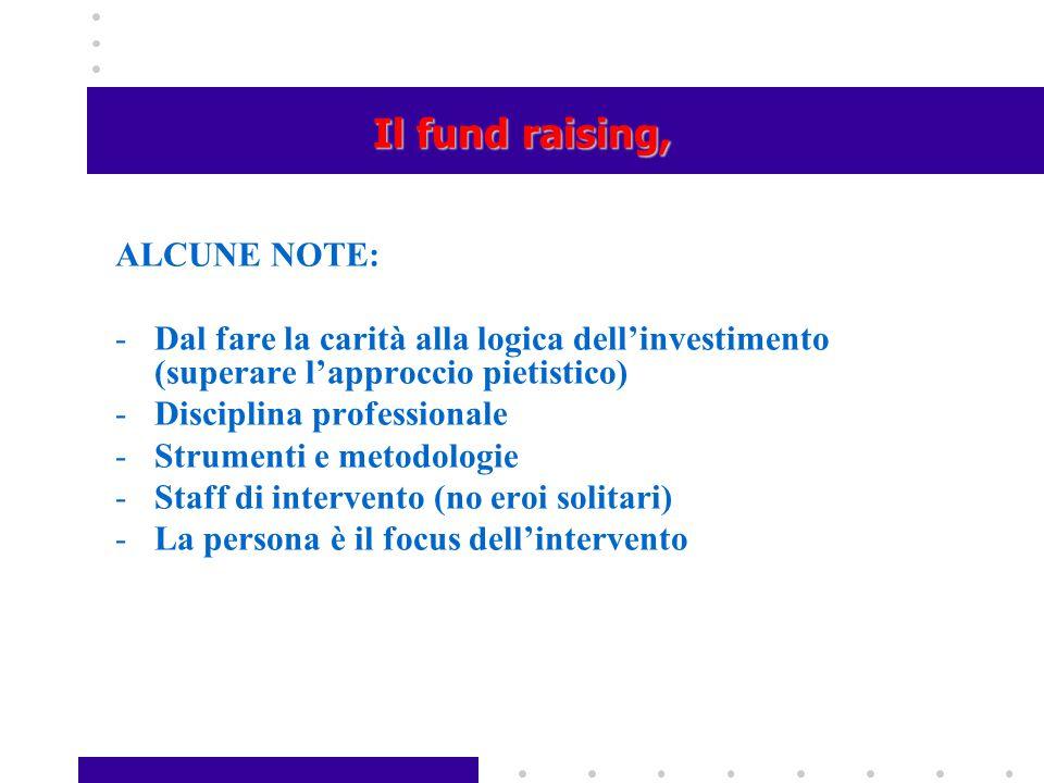 Il fund raising, ALCUNE NOTE:
