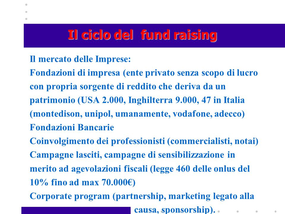 Il ciclo del fund raising