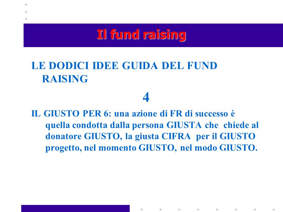 4 Il fund raising LE DODICI IDEE GUIDA DEL FUND RAISING