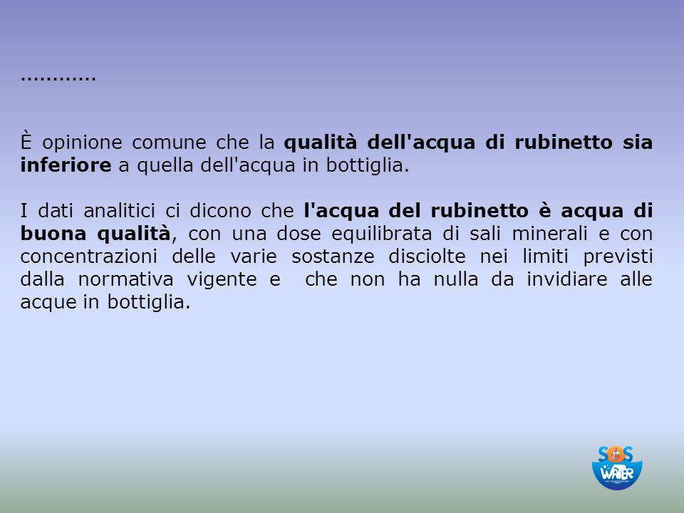 giovedì 20 aprile 2017 ………… È opinione comune che la qualità dell acqua di rubinetto sia inferiore a quella dell acqua in bottiglia.