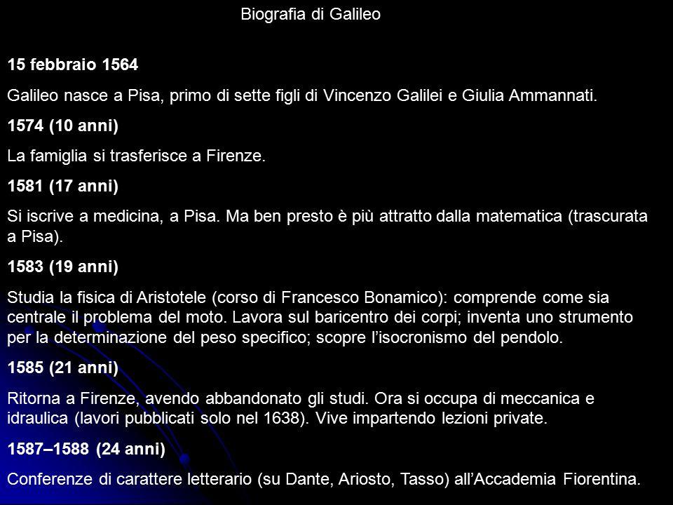 Biografia di Galileo 15 febbraio 1564. Galileo nasce a Pisa, primo di sette figli di Vincenzo Galilei e Giulia Ammannati.