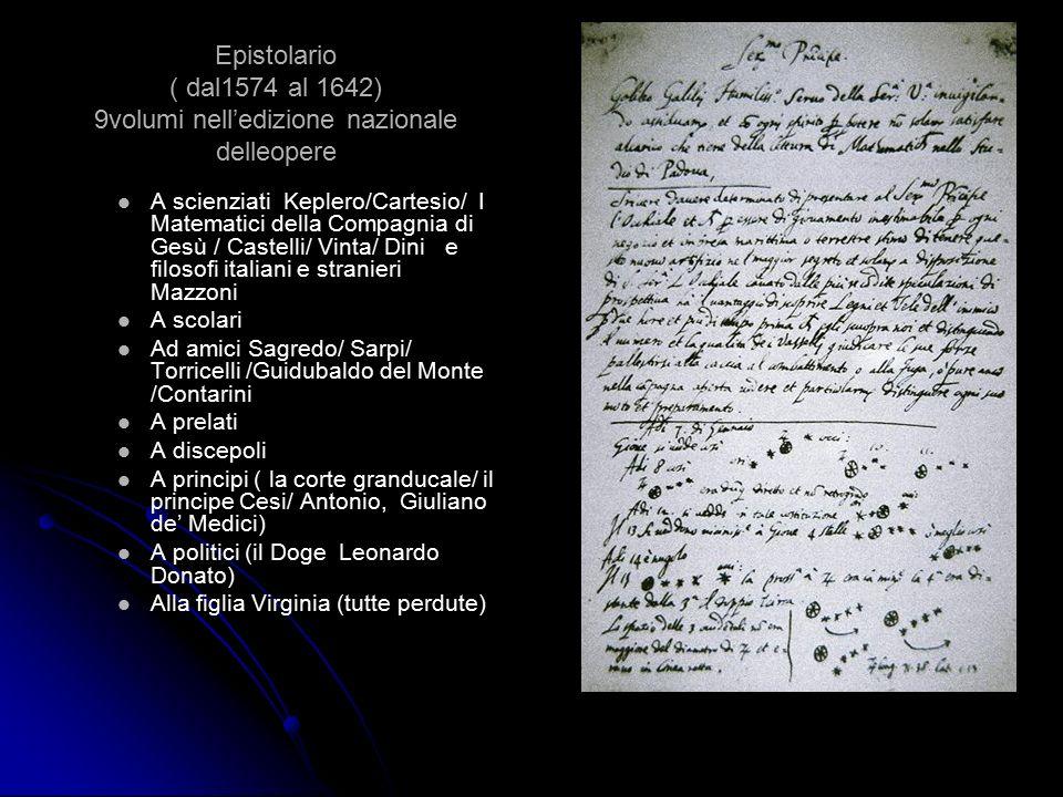 Epistolario ( dal1574 al 1642) 9volumi nell'edizione nazionale delleopere