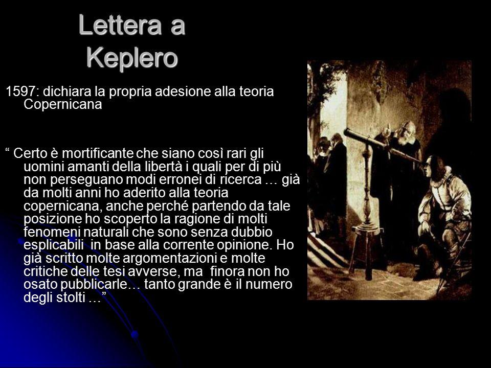 Lettera a Keplero 1597: dichiara la propria adesione alla teoria Copernicana.