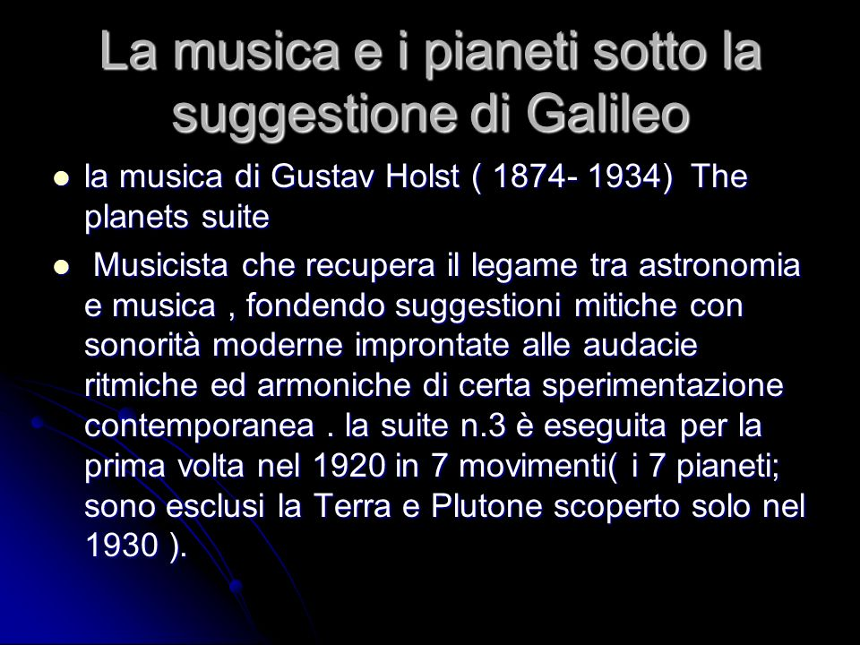 La musica e i pianeti sotto la suggestione di Galileo